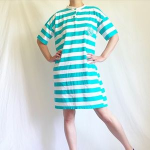 Vintage 90s Turquoise & White Striped Nightgown